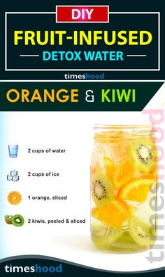 Fruits Infused Detox Drink for Weight loss & Glowing Skin. Detox drinks for beautiful skin. Turn your water into tastier and healthier one. Orange & Kiwi Infused Water recipes for boosting metabolism, clear skin and weight loss. https://timeshood.com/fruit-infused-water-recipes/