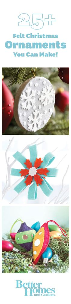 Use our free patterns and easy instructions to craft these felt #Christmas ornaments! More #ornament ideas: http://www.bhg.com/christmas/ornaments/