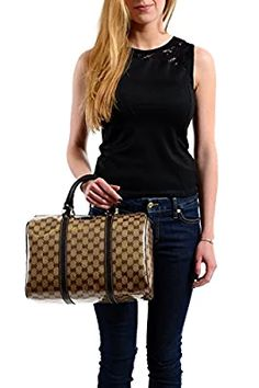 Gucci Canvas Leather Trimmed Crystal Coated Guccissima Print Boston Handbag Bag Canvas Leather, Louis Vuitton Monogram, Boston, Gucci, Crystals, Best Deals, Pattern, Bags, Fashion