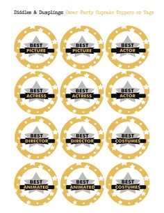 Free Printables - Oscar Party Tags or Cupcake Toppers