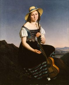 I immediately thought of this woman as a friend. Castelli, Louis Anton Gottlob - Madchen mit Gitarre in der Landschaft, Staatliche Museen, Berlin Music Painting, Art Music, Anton, A4 Poster, Poster Prints, Museum, Change Your Mind, Female Art, Fine Art