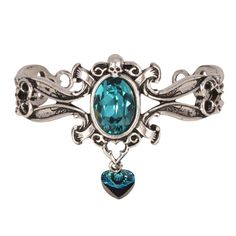"""A chunky pewter cuff bracelet with a seductive turquoise jewel leaving your on lookers trapped in an illusion. A statement piece to complete your outfit! Material -Pewter H: 50mm (1.97"""") W: 71mm (2.80"""") D: 10mm (0.39"""") Weight 47g (1.66oz). ONE SIZE (adjustable)(Please note neck jewellery dimensions are excluding the fastenings) Alchemy's bracelets are made of English Pewter which is perfect for gently bending into shape. Therefore enabling this bracelet to be available in two, adjustable…"""