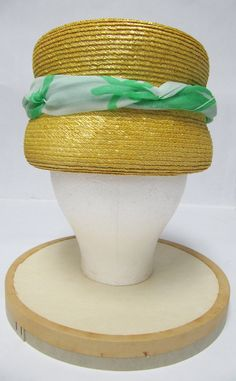 1960's Otto Lucas Yellow Straw Hat with Green Silk Scarf Detail. $60.00, via Etsy.