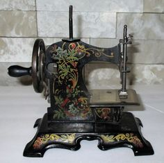 F W Muller Germany No 5 Child's Sewing Machine Black w Art Nouveau : aMERicana & wHimsy | Ruby Lane Antique Toys, Ruby Lane, Art Nouveau, Germany, Cottage, Games, Sewing, Antiques, Black