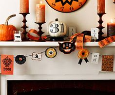 Collect an assortment of Halloween ephemera. We used downloadable images from etsy.com and ticket stubs, old playing cards, vintage Halloween graphics and postcards. Most items can be taped to the twine. To craft rosettes, glue two cupcake liners together and add a sticker of your choice or a button in the middle. Glue a folded length of ribbon to the back if desired.