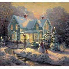Thomas Kinkade Blessings of Christmas painting is available for sale; this Thomas Kinkade Blessings of Christmas art Painting is at a discount of off. Christmas Scenes, Christmas Pictures, Christmas Art, Victorian Christmas, Country Christmas, Christmas Scene Drawing, Victorian Angels, Christmas Houses, Cottage Christmas
