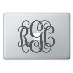 6x7 Laptop MONOGRAM wall decal (3 initial design) custom vinyl lettering sticker (W00931). $9.99, via Etsy.
