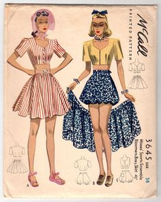 McCall 3645 ©1940 Sports Ensemble - Bloomers, Bra, & Skirt