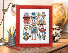 Robot Sampler - Available in The World of Cross Stitching 224