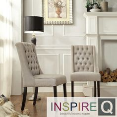 inspire q evelyn oatmeal linen tufted back hostess chairs set of 2 by inspire q leather tufted dining chairs