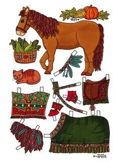Karen`s Paper Dolls: Peppe, Paper Doll Horse to print in Colours. Peppe, Påklædningsdukke Hest til at printe i farver.
