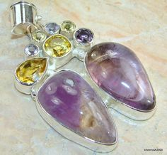 Huge!! Awesome Purple Amethyst Sterling Silver Pendant