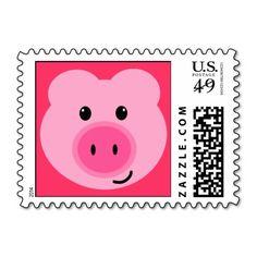 Cute Pink Pig Postage Stamps