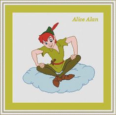 Peter Pan on a cloud character Disney cartoons от HallStitch