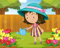 13776618-Illustration-of-girl-watering-plants-Stock-Vector-cartoon.jpg (1300×1052)