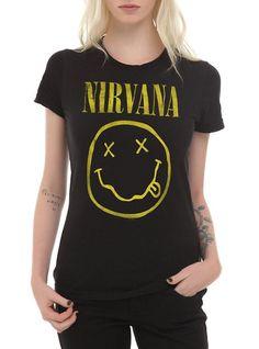 Nirvana Smiley Girls T-Shirt, BLACK