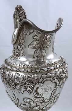 antique Kirk hand chased silver pitcher with grapes and vines Novelty Items, Classical Art, Art Object, Vintage Love, Metal, Decorative Items, Antique Silver, Jewelery, Bronze