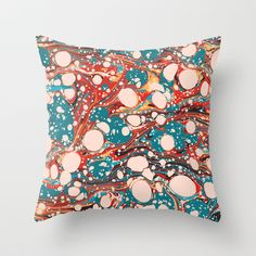 Psychedelic Marbling Paper Blob Throw Pillow by Pepe Psyche - $20.00