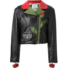 Moschino Vintage 'Flower' biker jacket (1,530 CAD) ❤ liked on Polyvore featuring outerwear, jackets, moschino, tops, black, biker jackets, moschino jacket, vintage leather jacket, motorcycle jacket and leather biker jackets