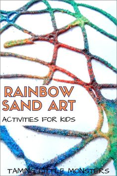 Rainbow Sand Art Activities for Kids - Taming Little Monsters - Turn rainbow sand into art with these 5 process art activities for kids. These creative ideas from - Art Therapy Projects, Art Therapy Activities, Art Activities For Kids, Preschool Art, Creative Activities, Toddler Preschool, Creative Ideas, Toddler Learning, Activity Ideas