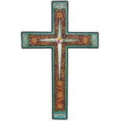 Cross with Tooled Flower and Scrolls Wall Decor