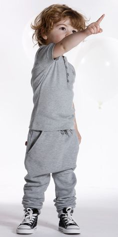 gray harem pants n tshirt in same color. .. like this style for my son