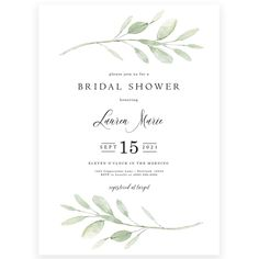 Greenery Bridal Shower Invitation | Forever Your Prints