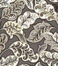 Curtains? HGTV Home Upholstery Fabric Deco Drama Zinc, , hi-res