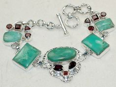 Chrysoprase ,Garnet Faceted  bracelet designed and created by Sizzling Silver. Please visit  www.sizzlingsilver.com. Product code: BR- 8407