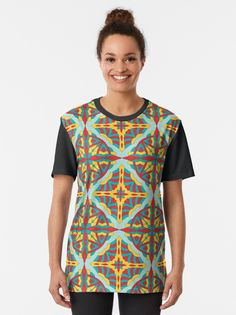 """""""Ornamental pattern no.49, teal, red and yellow"""" T-shirt by Lenka24   Redbubble"""