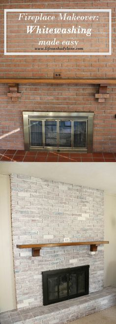 How to Whitewash a Brick Fireplace via Life on Shady Lane blog