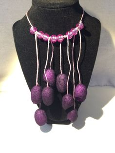 Unique silk cocoon necklace purple hand dyed silk cocoons Jewelry Holiday, girlfriend, birthday, sister, boss, best friend gift for her by KFArtistry on Etsy
