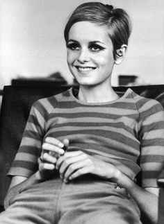 Twiggy, 60s mod icon, stripes, pixie cut, brittish model