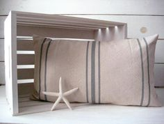 Grainsack Canvas Pillow / Nautical Pillow / Gray by WoodsandShore