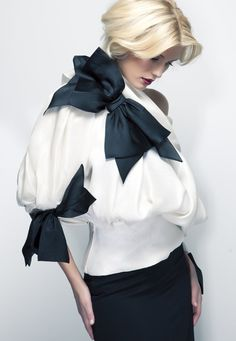 Vintage Christian Dior Couture White and black bow
