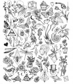 Creepy Nature Flash art of tattoo filler - Tiny tattoo ideas for women tattoo designs ideas männer männer ideen old school quotes sketches Flash Art Tattoos, Tattoo Flash Sheet, Trendy Tattoos, New Tattoos, Body Art Tattoos, Cool Tattoos, Tattoo Ink, Ship Tattoos, Arabic Tattoos