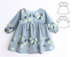 BLUE TIT Girl Baby Girl Dress pattern Pdf sewing, Woven Dress, Short and Long Sleeve, Toddler dress, newborn dress 0 - 10 years - ♡❤♡The BLUE Tit Dress is fancy and suitable for little fairies. With long or short sleeves. Girls Dresses Sewing, Baby Girl Dresses, Baby Dress, Girl Outfits, Baby Girls, Dress Girl, Kids Girls, Baby Skirt, Baby Girl Dress Patterns