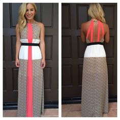 I don't like the stripe down the front but love this dress otherwise. I think the belt should be the coral color