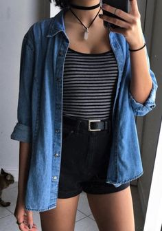 Necklace, flannel, stripped top & shorts by variousxvibes cool summer outfits, flannel outfits Black Shorts Outfit Summer, Cute Outfits With Shorts, Cool Summer Outfits, Spring School Outfits, Flannel Outfits Summer, High Waisted Shorts Outfits With, Summer Outfits 2018 Teen, Outfit Ideas Summer, Denim Jacket Outfit Summer