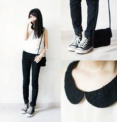 H&M Top, Monki Jeans, Converse Shoes