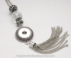 Silver tone tassel snap necklace pendant, fits regular snaps, similar to Ginger Snaps, Magnolia & Vine, Noosa jewelry