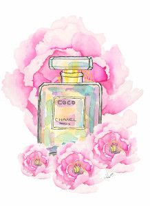 cocomademoiselle watercolor painting of coco Chanel perfume bottle