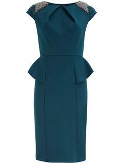 Teal embellished peplum dress from Dorothy Perkins