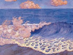 Blue Seascape, Wave Effect - Georges Lacombe 1893