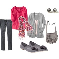 Pink, grey and ruffles. I don.t wear grey but like the style. I would like it in navy and dark pink.