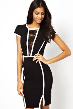OL Contrast Trims Regular Fit Midi Dress