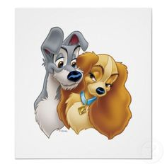 Classic Lady and the Tramp Snuggling Disney print