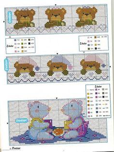 PATRONES (BABEROS) (pág. 9) | Aprender manualidades es facilisimo.com Cross Stitch Bookmarks, Cross Stitch Baby, Cross Stitch Charts, Cross Stitch Patterns, Cross Stitching, Cross Stitch Embroidery, Baby Co, Rainbow Unicorn, Baby Outfits