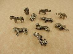 10 antique pewter assorted wild animal beads, rhino, tiger, elephant, lion…