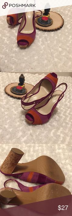 Calvin Klein Chunky Gracie Multi-Color Heals Chunky multi-color sling back heals. Colors: mauve, purple and orange. Size 6. Fabric: suede. Pre-owned condition, gently used with no flaws. Calvin Klein Shoes Heels